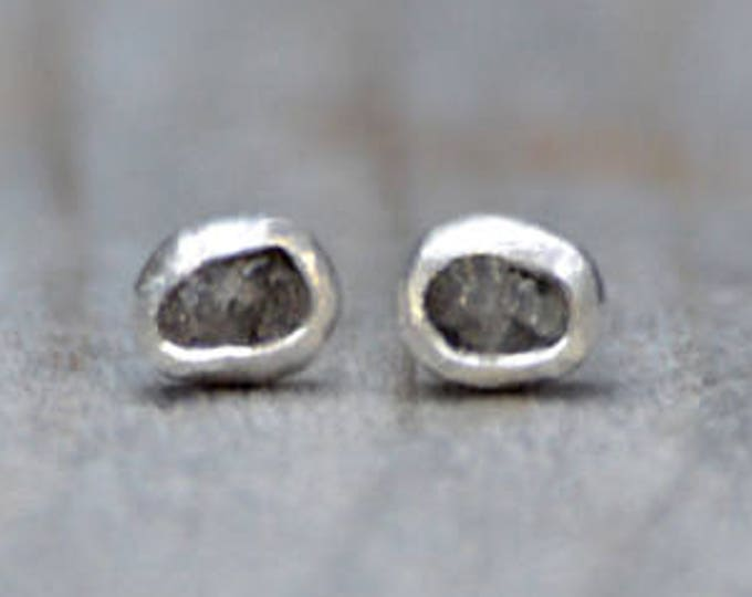 Raw Diamond Earring Studs, Total 0.3ct Rough Diamond Ear Studs In Grey, Handmade In England