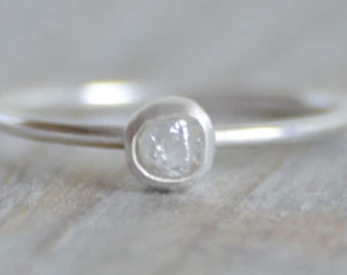 Raw Diamond Engagement Ring, Light Gray Diamond Ring, 0.25ct Rough Diamond Ring, Handmade In England