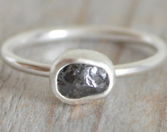 Raw Diamond Engagement Ring, 0.75ct Black Diamond Ring, Dark Grey Diamond Ring, Handmade In England