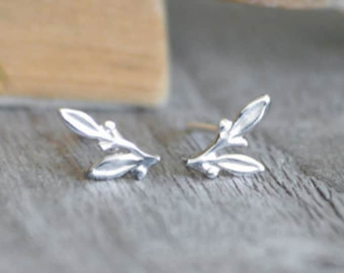 Little Leaves Stud Earrings, Small Earring Studs in Sterling Silver, Handmade in England