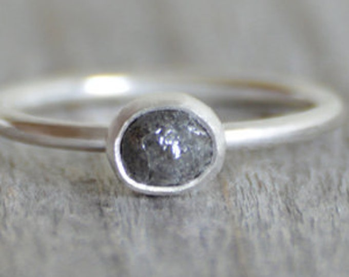 Raw Diamond Engagement Ring, 0.45ct Dark Grey Raw Diamond Ring, Handmade In England