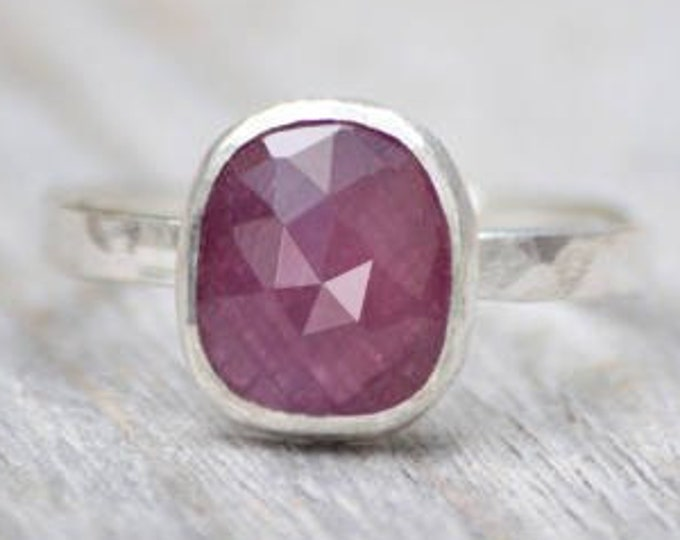 Rose Cut Ruby Ring, 1.75ct Ruby Wedding Gift, July Gift, Handmade in The UK