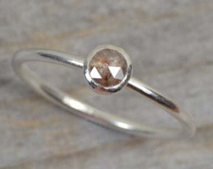 Rose Cut Diamond Engagement Ring, Fancy Coloured Diamond Ring
