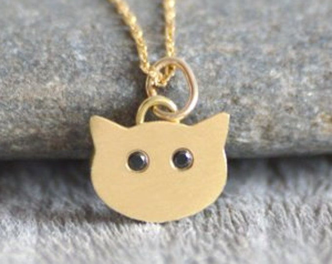 Cat Necklace with Diamond Eyes, Kitten Necklace in 18K Yellow Gold with Diamond Eyes, Handmade in the UK