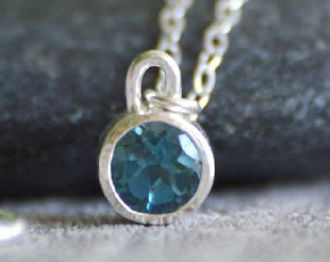 London Blue Topaz Necklace Set In Sterling Silver, November Birthstone Necklace, Birthstone Necklace