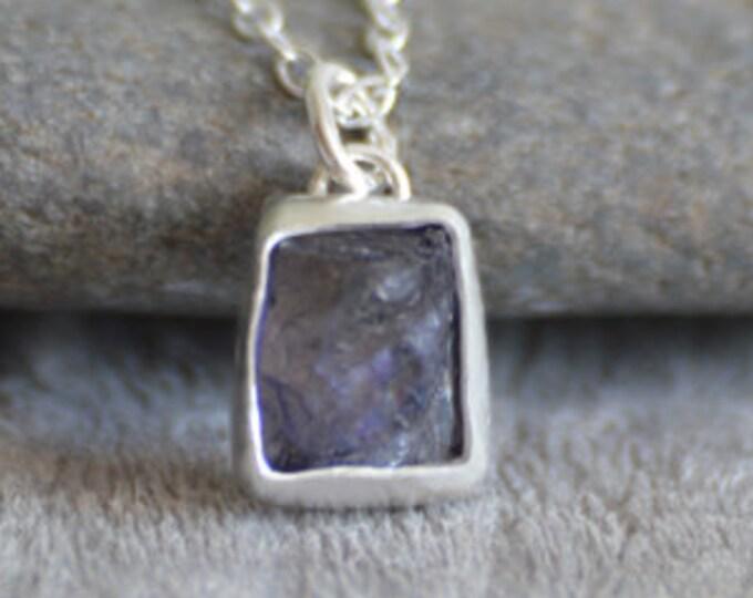 Raw Iolite Necklace In Lavender, Rough Iolite Necklace, Purple Gift, August Birthstone