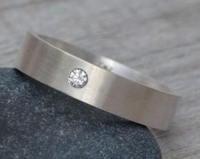 Flush Set Diamond Wedding Band, Topaz Wedding Ring, Personalized Wedding Band, Made to Order