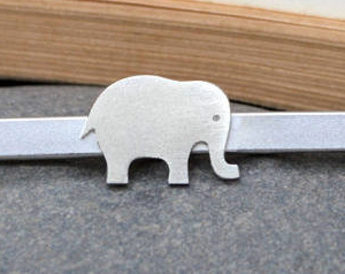 Elephant Tie Clip in Solid Sterling Silver, Wedding Tie Clip, Personalized Tie Clip, Handmade Gift for Him, Handmade in England