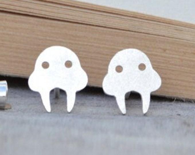Walrus Stud Earrings in Sterling Silver, Silver Walrus Ear Posts