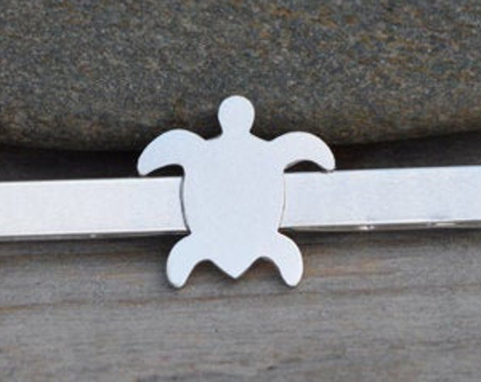 Sea Turtle Tie Clip in Solid Sterling Silver, Wedding Tie Clip, Personalized Tie Clip, Handmade Gift.