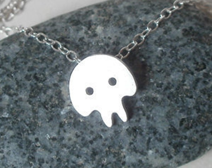 Skull Necklace, Gothic Necklace, Cute Skull Necklace in Sterling Silver Handmade, SALE