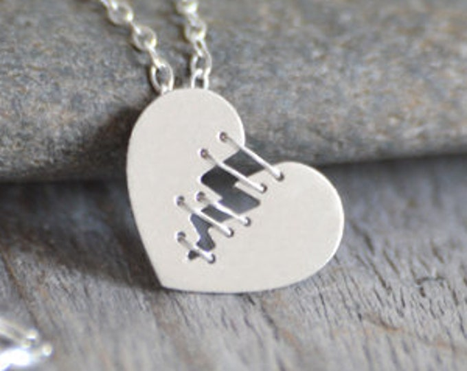 Mended Heart Necklace with Silver Sutures, Handmade in the UK