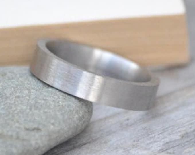 Comfort Fit Wedding Band, 4mm Wide Wedding Band, Handmade Wedding Ring