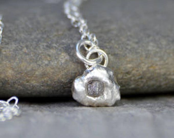 Small Raw Diamond Necklace In Grey, Rough Diamond Necklace, Grey Diamond Necklace, April Birthstone Necklace