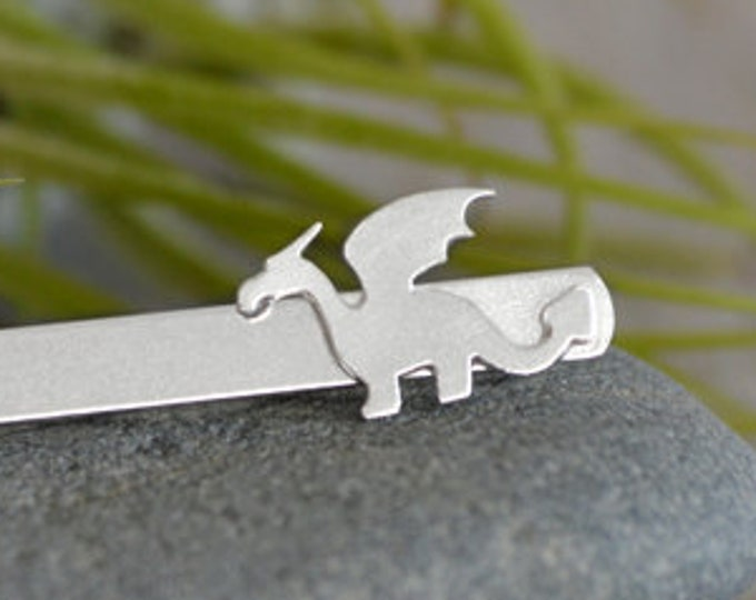 Small Dragon Tie Clip in Solid Sterling Silver, Wedding Tie Clip, Personalized Tie Clip, Handmade Gift for Men, Handmade in England