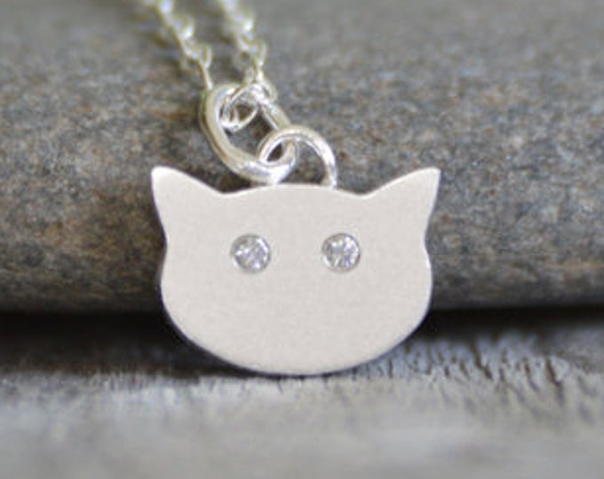 Cat Necklace with Diamond Eyes, Kitten Necklace with Diamond Eyes, Handmade in the UK