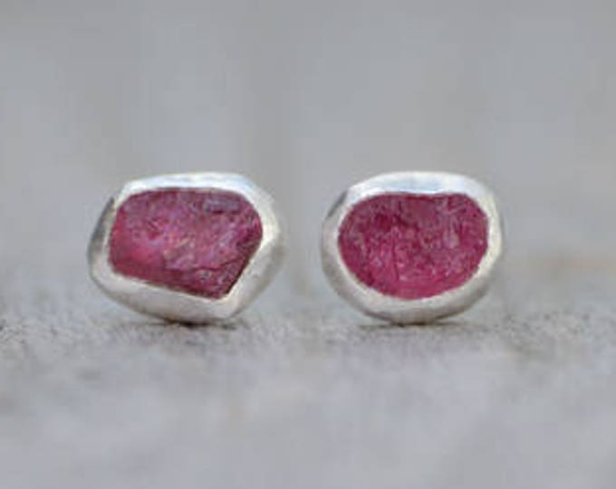 Raw Ruby Stud Earrings, Rough Ruby Ear Studs, Ruby Wedding Gift, July Birthstone, Handmade In England, Made To Order Ear Studs