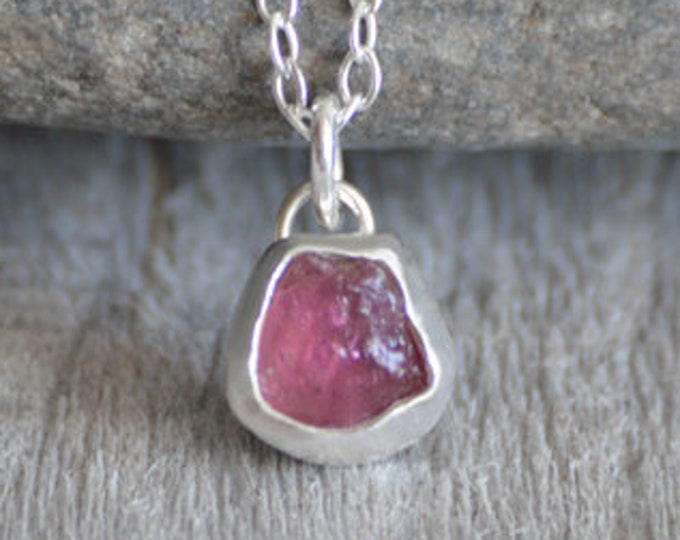 Raw Tourmaline Necklace In Rose Pink, Small Rough Tourmaline Necklace, October Birthstone Necklace Handmade In The UK