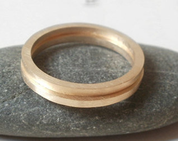 Slim Wedding Band in 9ct Yellow Gold, Simple Stacking Ring, Handmade in England
