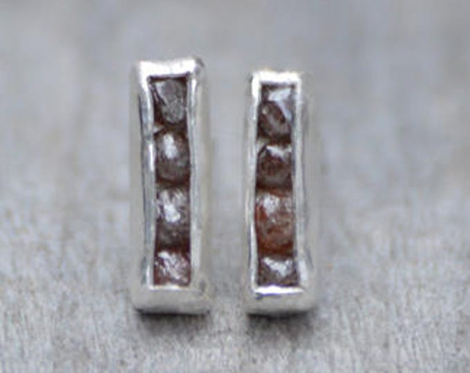 Raw Diamond Earring Studs, Total 0.8ct Raw Diamonds, Diamond Wedding Gift, April Birthstone Handmade in England
