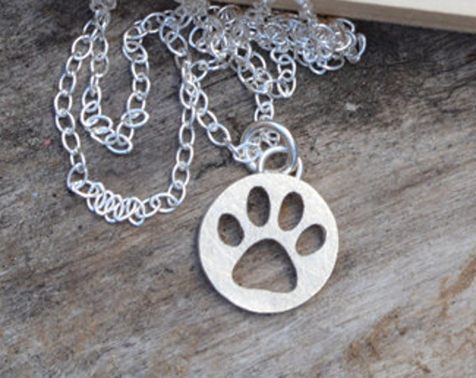 Pawprint Necklace in Sterling Silver, Silver Paw Print Necklace
