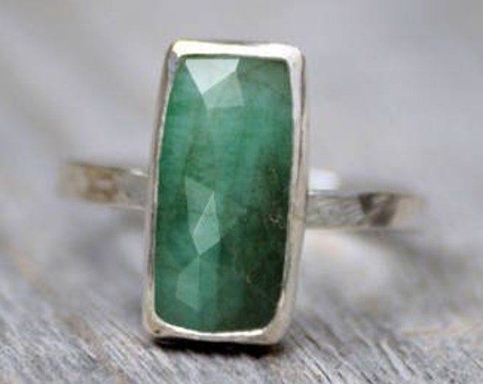 Rose Cut Emerald Ring, Emerald Engagement Ring, May Birthstone, Emerald Gift, Handmade In The UK
