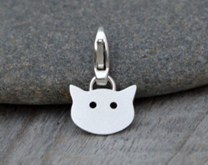 Cat Charm For Bracelet In Sterling Silver, Handmade In The UK