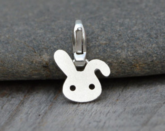 Bunny Rabbit Charm For Bracelet In Sterling Silver, Handmade In The UK