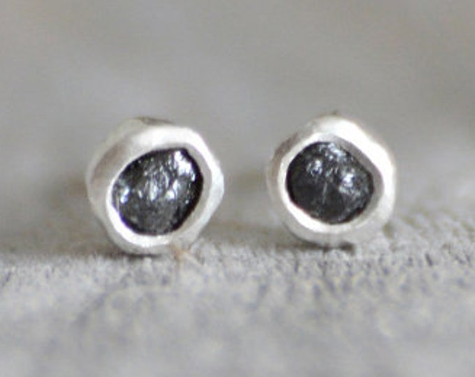 Raw Diamond Earring Studs, Black Diamond Ear Studs, Total 0.2ct Diamond Stud Earrings, Handmade In England