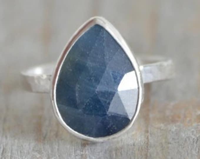 Rose Cut Sapphire Ring, 3.5ct Raindrop Sapphire Statement Ring, September Birthstone Ring, Wedding Gift, Something Blue Gift