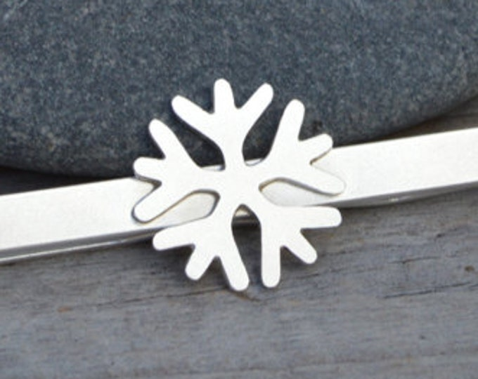 Snowflake Tie Clip in Solid Sterling Silver, Wedding Tie Clip, Personalized Tie Clip, Handmade Gift for Men