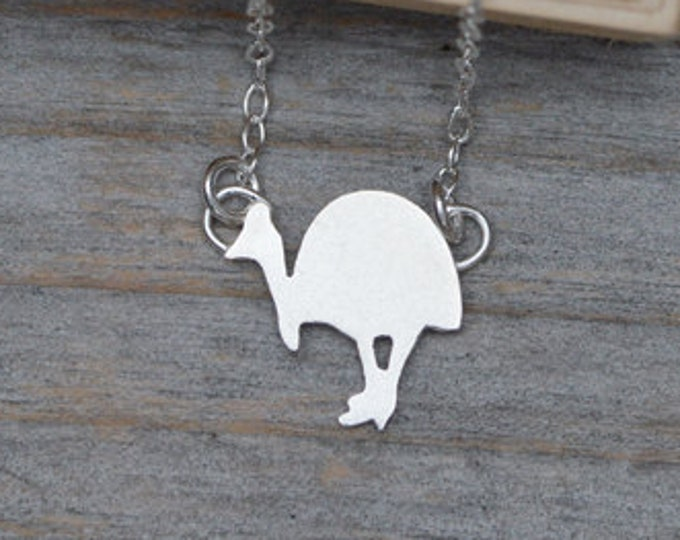 Southern Cassowary Necklace in Sterling Silver Handmade in the UK