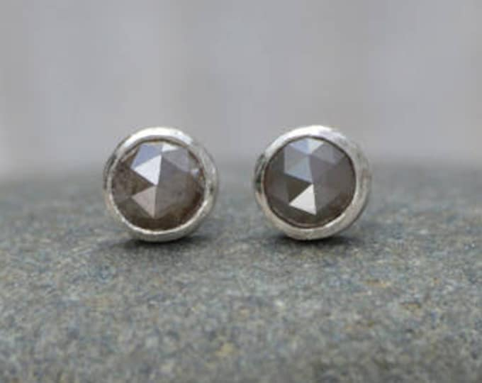 Rose Cut Diamond Stud Earrings, Total 0.35ct Diamonds, Olive Colour Diamond Wedding Gift Handmade in England