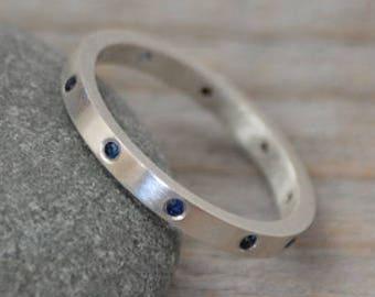 Sapphire Eternity Ring, Sapphire Anniversary Ring, Sapphire Wedding Band, Flush Set Sapphire Ring, Made to Order
