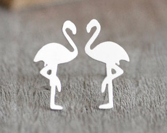 Flamingo Earring Studs, Flamingo Stud Earrings In Sterling Silver, Handmade In The UK