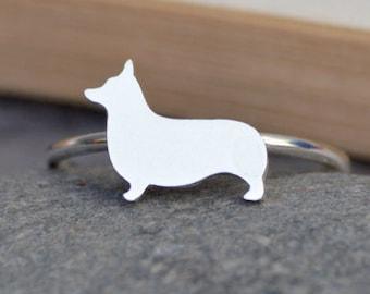 Corgi Ring in Sterling Silver, Silver Dog Ring