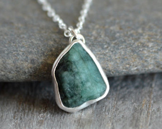 Raw Emerald Necklace, Rough Emerald Necklace, May Birthstone, Small Emerald Necklace Handmade in the UK
