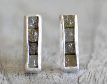 Mosaic Diamond Stud Earrings, Diamond Cube Ear Posts, Total 0.8ct Raw Diamonds
