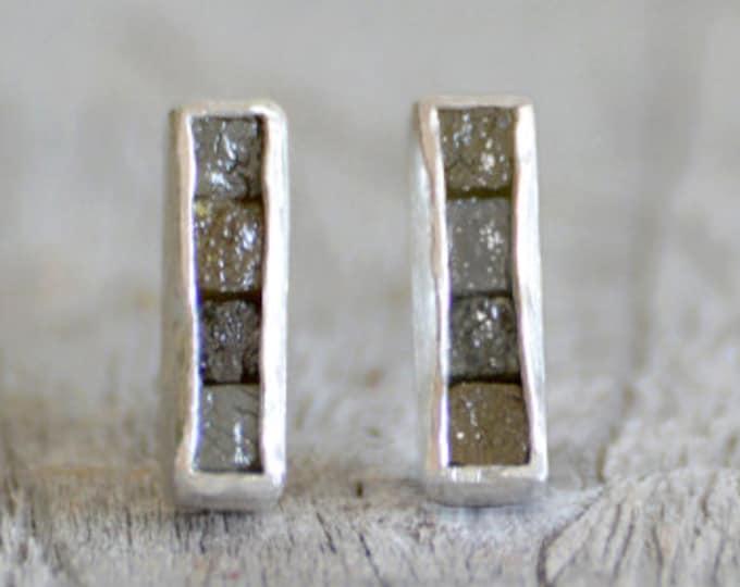 Mosaic Diamond Earring Studs, Total 0.8ct Raw Diamonds, Diamond Wedding Gift, Diamond Earring Studs, April Birthstone