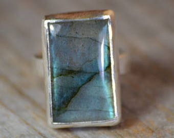 Large Labradorite Ring Set In Sterling Silver, Labradorite Statement Ring, Blue Cocktail Ring, Handmade In The UK