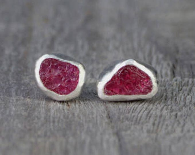 Raw Ruby Stud Earrings, Total 1.2ct Rough Ruby, Ruby Wedding Gift, July Birthstone, Handmade in England
