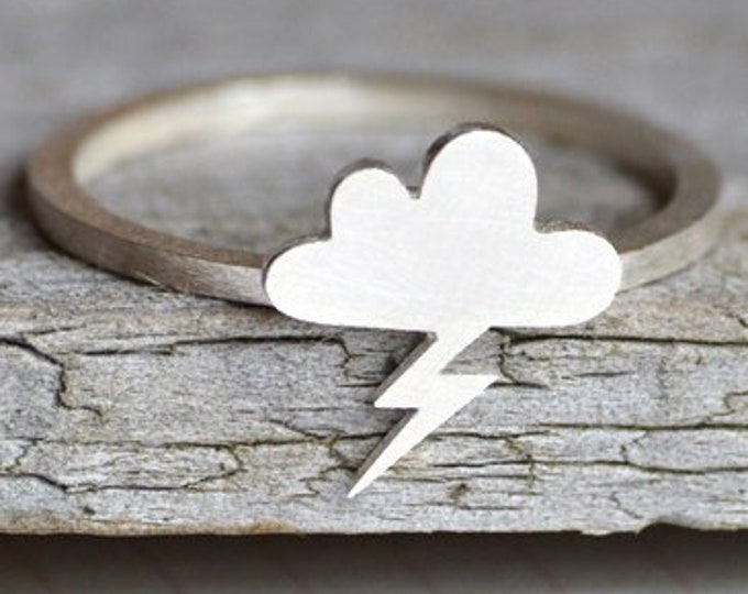 Lightning Cloud Ring in Sterling Silver, Silver Lightning Cloud Ring
