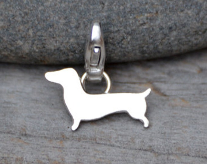 Dachshund Charm for Bracelet in Sterling Silver, Sausage Dog Charm, Doggy Charm, Handmade in the UK