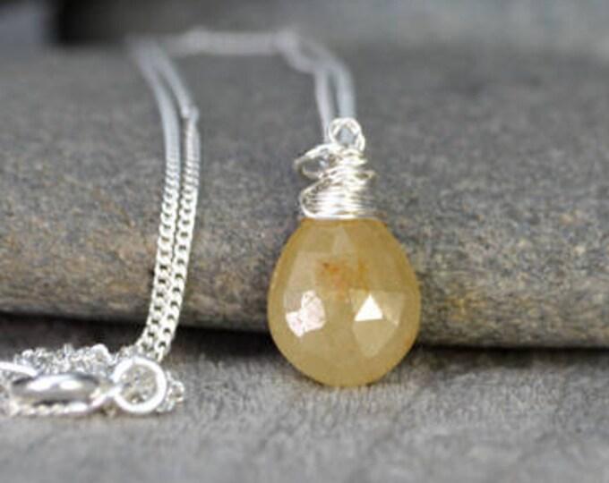 Yellow Sapphire Necklace, September Birthstone, Sapphire Gift Handmade In The UK