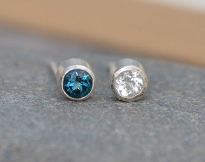 London Blue Topaz Stud Earrings, Clear Topaz Stud Earrings, November Birthstone Stud Earrings, Set in Sterling Silver