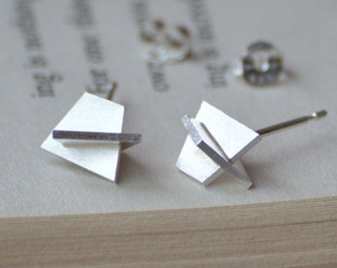 Wearable Sculpture Stud Earrings, Abstract Stud Earrings Handmade in Sterling Silver