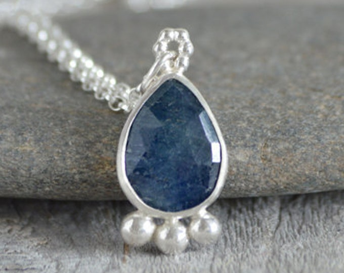 Rose Cut Sapphire Necklace, Something Blue Wedding Gift, September Birthstone, 4.5ct Sapphire Necklace, Handmade In England