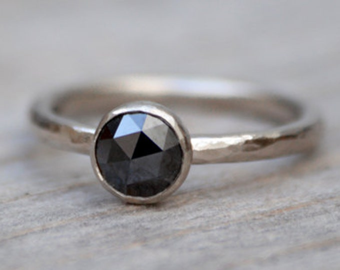 Rose Cut Black Diamond Engagement Ring, Round Diamond Solitaire Ring, Handmade Diamond Wedding Gift
