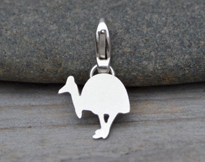 Southern Cassowary Charm in Sterling Silver