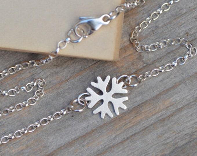 SnowFlake Bracelet, Snowflake Anklet in Solid Sterling Silver Handmade in England